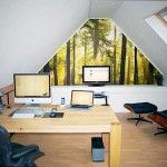 Enchanting Attic Home Office Design Ideas with Wooden Desk and White Ceilings