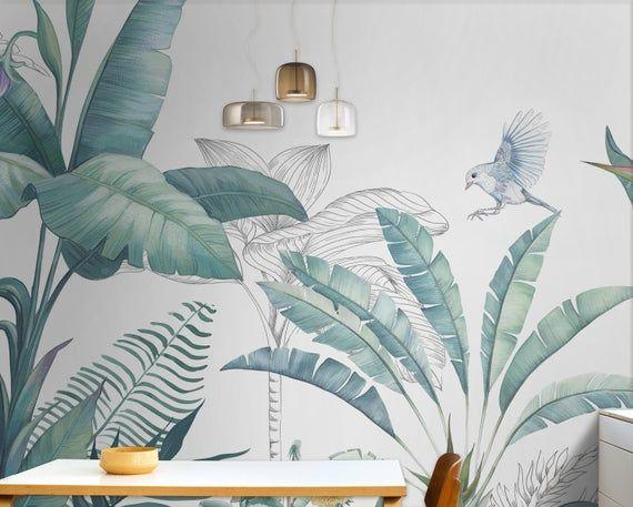 Tropical Wallpaper Self Adhesive Peel And Stick Banana Leaf Etsy Tropical Wallpaper Tropical Decor Mural Wallpaper
