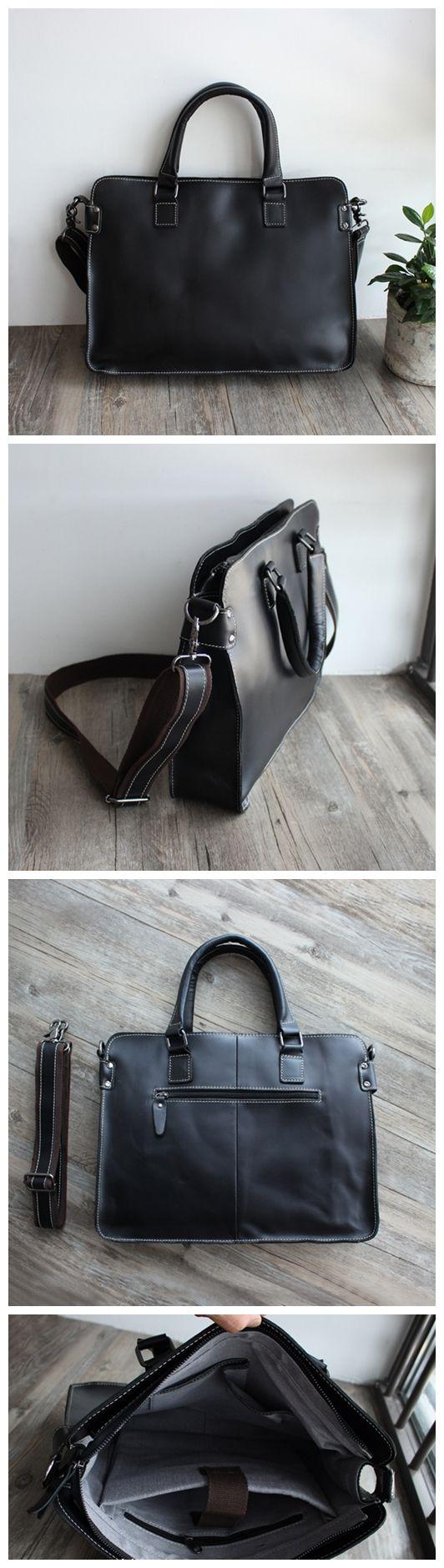 Black Top Grain Leather Briefcase for Men, Leather Laptop Bag GM011