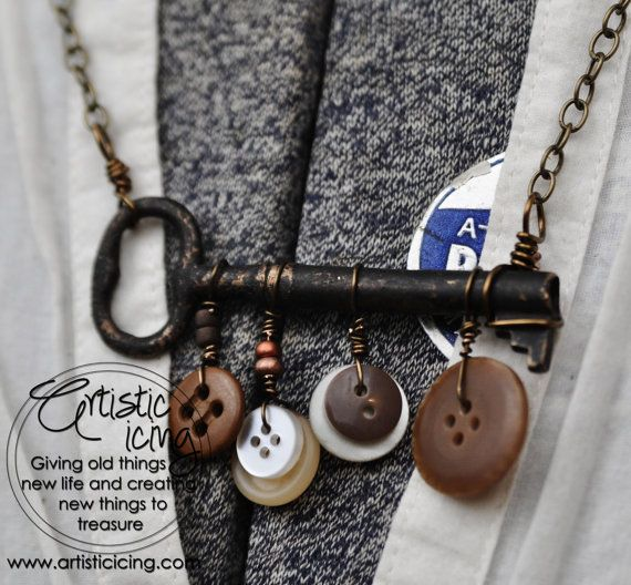 Vintage Key and Buttons necklace #artisticicing