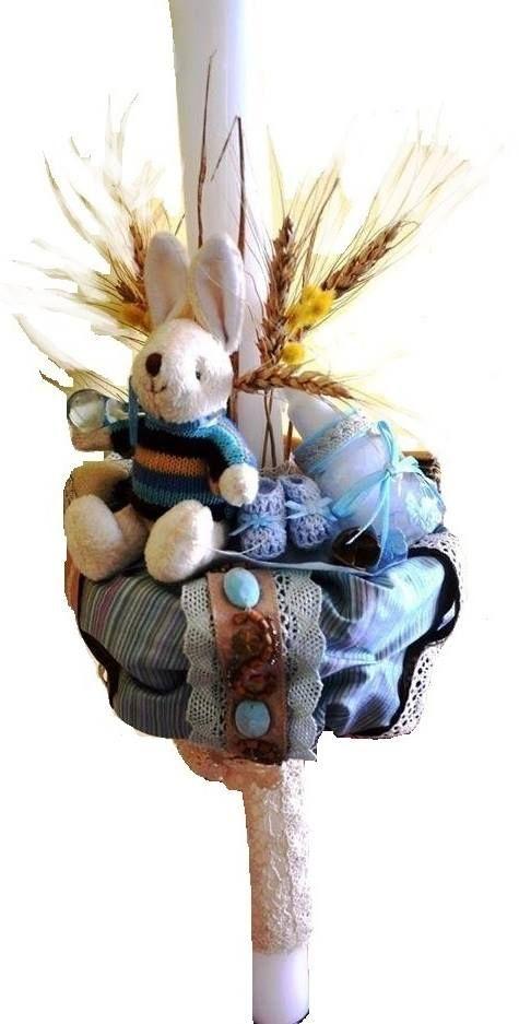 Christening candle baby boy theme #nature #bunny #dried flowers #handmade by Atelier Floristic Aleksandra concept Alexandra Crisan / lumanare de botez