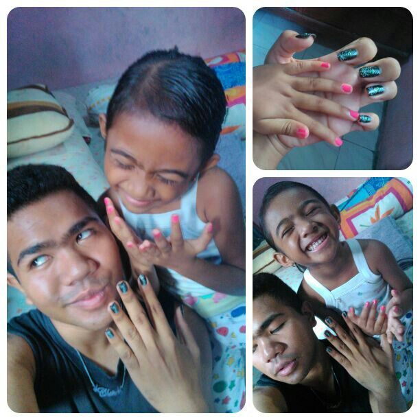**Well, what can we say? We love nail polish and nail art too much that we wake up taking pictures of ourselves and our nails too of course.. Have a nail, I mean nice, day..  #nailart #nailpolish #siblings #family #love