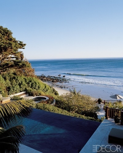 Infinity pool above a deserted beach: Cindycrawford, Elle Decor, Swim Pools, California Home, Pacific Ocean, Cindy Crawford, House, Malibu California, Infinity Pools