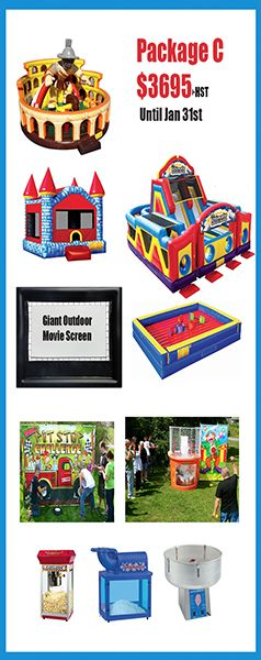 All in one Carnival Package. Includes 14 foot outdoor Movie Screen with Projector and Setup included. Call 613-695-JUMP(5867) to order.