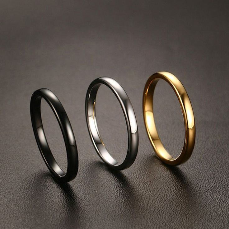 Female 2mm Width Small Ring Quality Tungsten Carbide with Gold Gun Black Plated Wedding Ring for Women Size 6 7 8 9 10 11