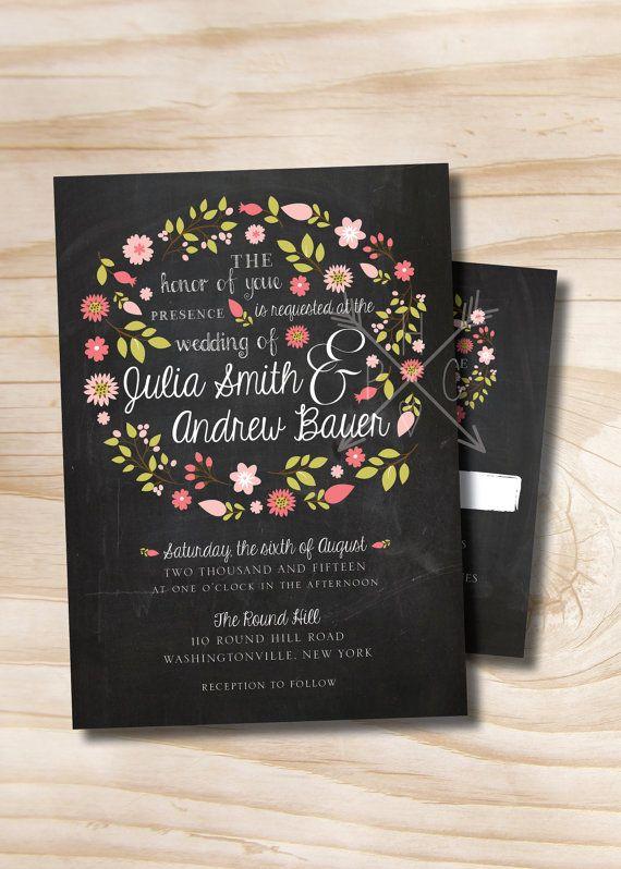 Vintage Blackboard Chalkboard floral Wreath wedding invitation and response card