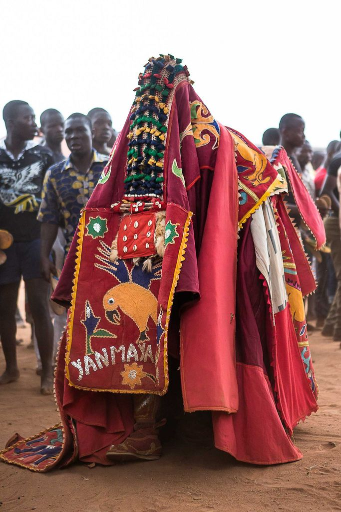 "Africa | An Egungun during the Voodoo ceremony in Benin.  Voodoo is an official religion in Benin and means spirit or deity.  It origin is from Benin, but is an indigenous organised religion of coastal West Africa, from Togo to Benin. ""Although the west like to believe that voodoo is some sort of 'black magic' that is evil, in West Africa, the voodoo religion is one of respect and peace."" 