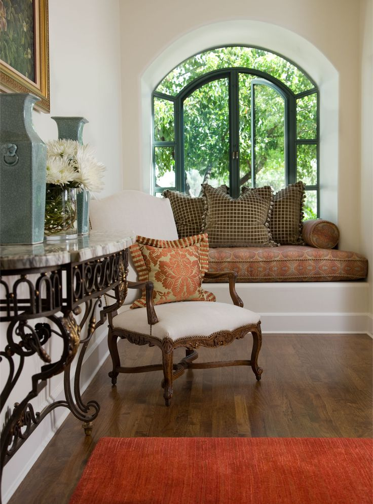 Best Alcoves Window Seats Images On Pinterest Furniture - Beautiful windows and love the window seat with blue white cushions