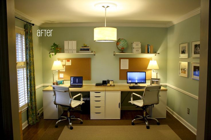 My exact idea for our double desk officeslash guest bedroom!