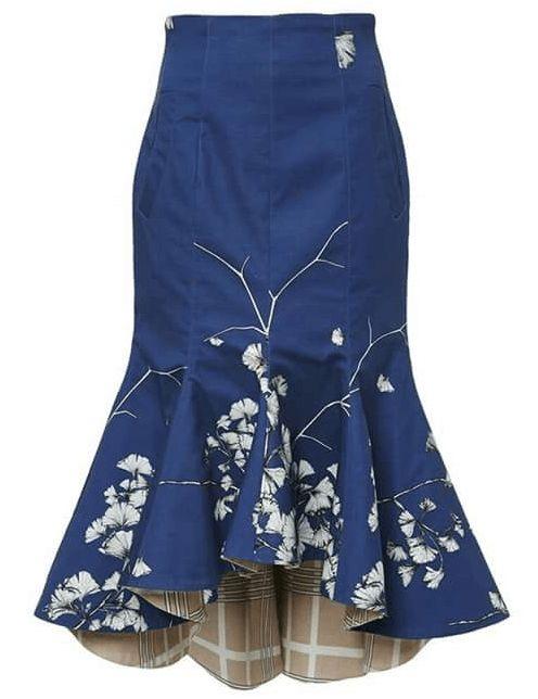 Esquema de modelagem de saia moulet sereia do 36 ao 56.