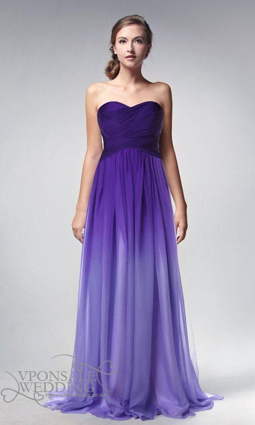 strapless full length ombre purple prom dresses 2014 DVP0002 | VPonsale Wedding Custom Dresses