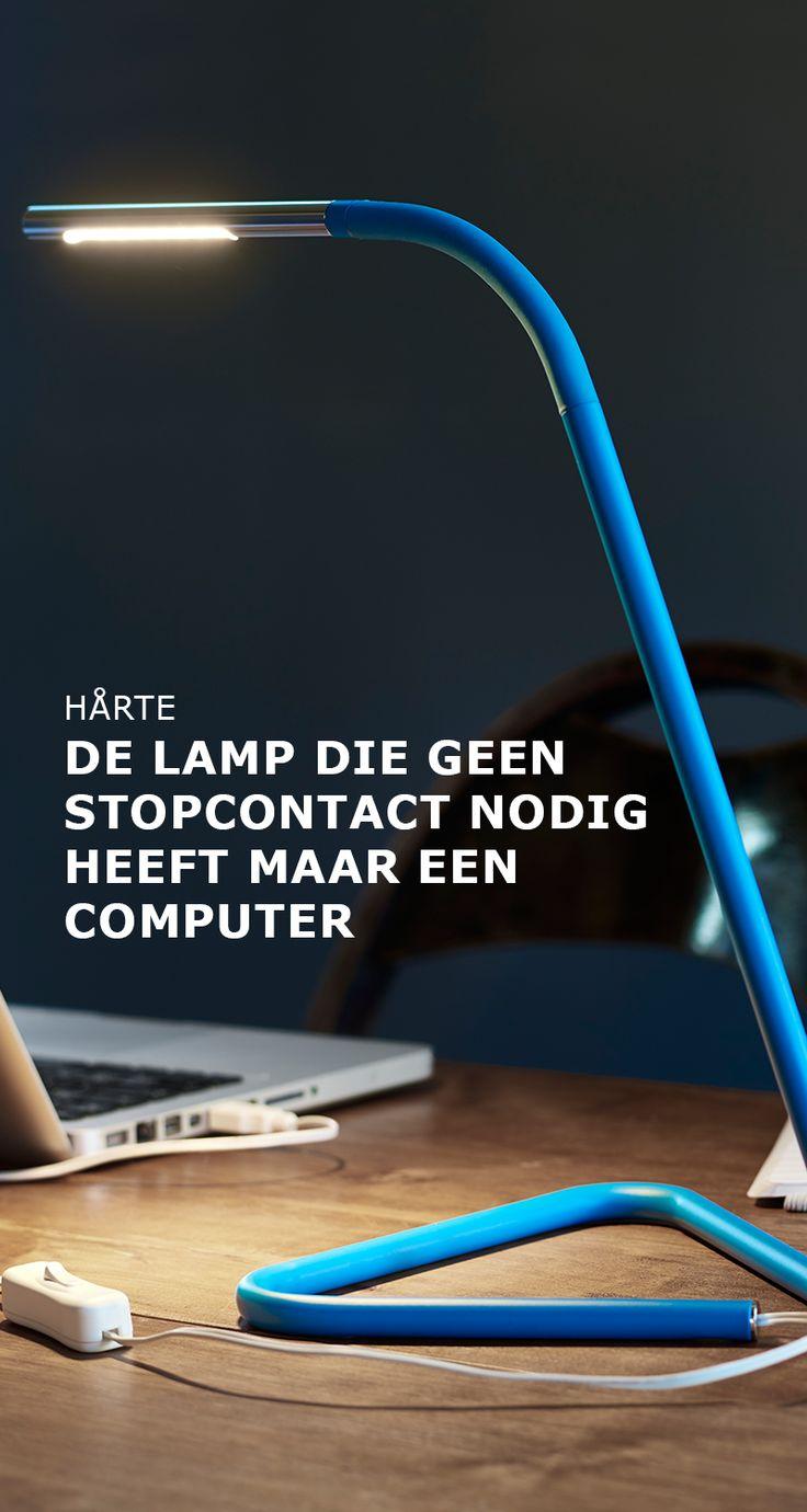 HÅRTE het enige wat je nodig hebt is een USB-poort |  #IKEA #IKEAnl #ElkProductEenGoedVerhaal #lamp #slim #oplossing #bureau #werk #werplek #blauw #USB