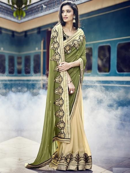 LadyIndia.com #Bridal Sarees, Designer Green & Cream Georgette Saree With Embroidery Work - Bridal Wedding Saris, Bridal Sarees, Wedding Sarees, Designer Sarees, New Fashion Trend Sarees, https://ladyindia.com/collections/ethnic-wear/products/designer-green-cream-georgette-saree-with-embroidery-work-bridal-wedding-saris