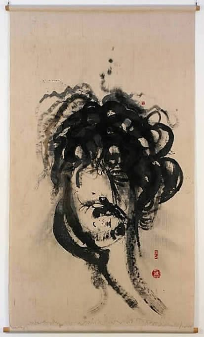 Brett Whiteley, Self Portrait, ink on linen, c. 1972, Gift of Chandler Coventry, 1979, 242.7 cm x 146.9 cm