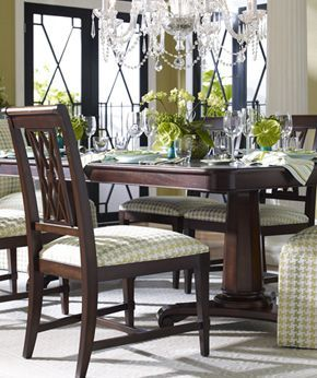 Ethan Allen Elegance   Love The Pattern On The Chairs, The Mirrored Console  Table, The Chandelier, The Dining Set, The Mirror And The Leaded Windows.