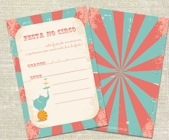 Convite de aniversário Circo Vintage