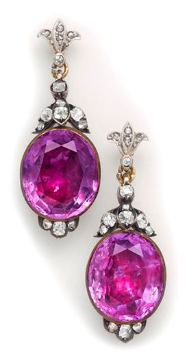 Georgian amethyst, diamond, silver and  gold drop earrings