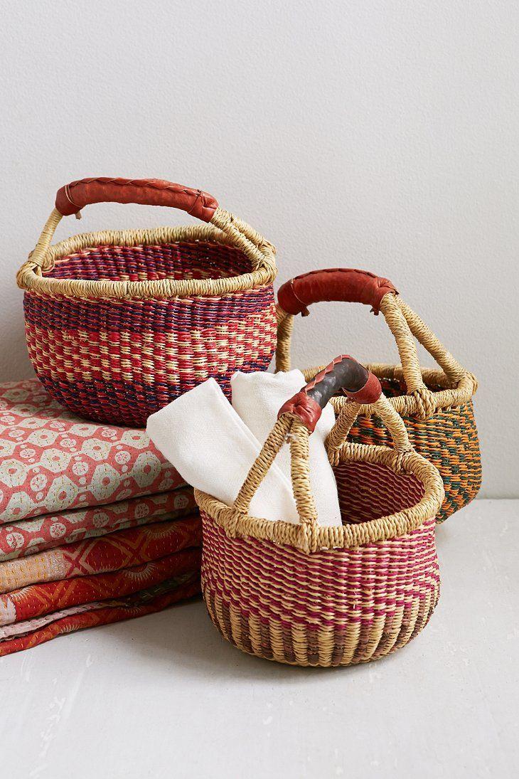 African Market Baskets Hand-Woven Bolga Basket