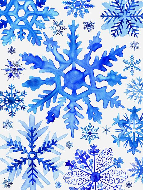 attic paint color ideas - Margaret Berg Art Blue Watercolor Snowflakes