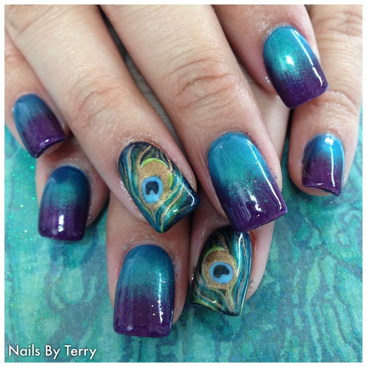 Peacock Feather gel nails By Terry