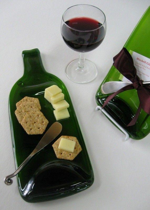 Melted Wine Bottle Cheese Plate with Plum Ribbon - Upcycled / Recycled Eco Friendly Wedding Gift