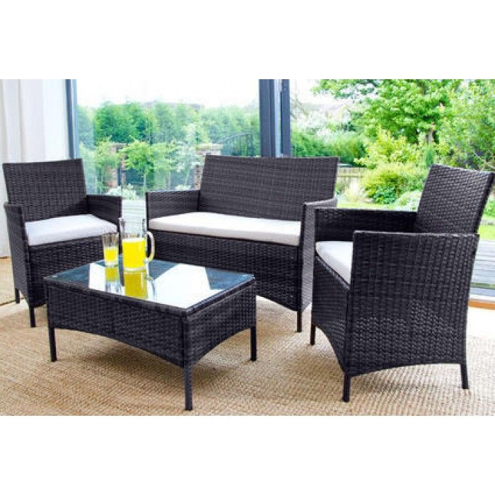 4PC Rattan Garden Furniture Set - Black - Luxury Leather Beds - Beds.co.uk - The Bed Outlet