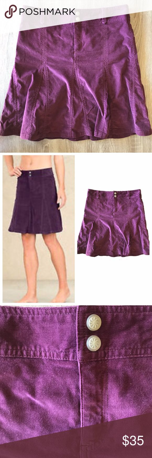 "Athleta Whenever Grape Corduroy Flared Skirt The Athleta Whenever fit and flare skirt in purple grape corduroy.  This cord skirt has a flared hemline, two snap closure, and zip fly.  Fits higher on waist and has belt loops. Perfect to wear with tights and boots.  Excellent used condition.  - Size 6  - Approx. 16"" across waist - Approx. 19.75"" long - 98% cotton, 2% spandex Athleta Skirts A-Line or Full"