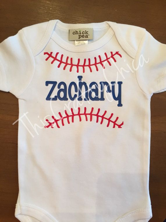 Personalized baby baseball onesie  baby boy  by ThisCraftyChica