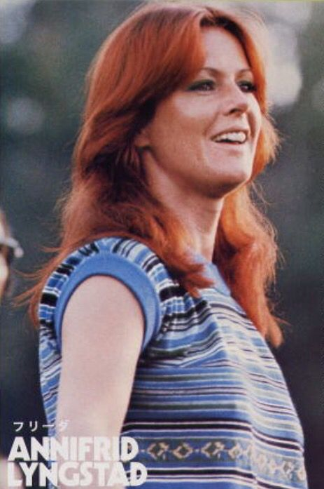 Frida in Djurgarden, Sweden during of shooting ABBA THE MOVIE 1977