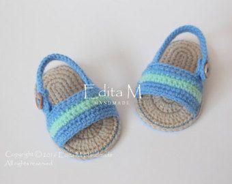 Crochet sandalias bebé zapatillas bebé botines por EditaMHANDMADE