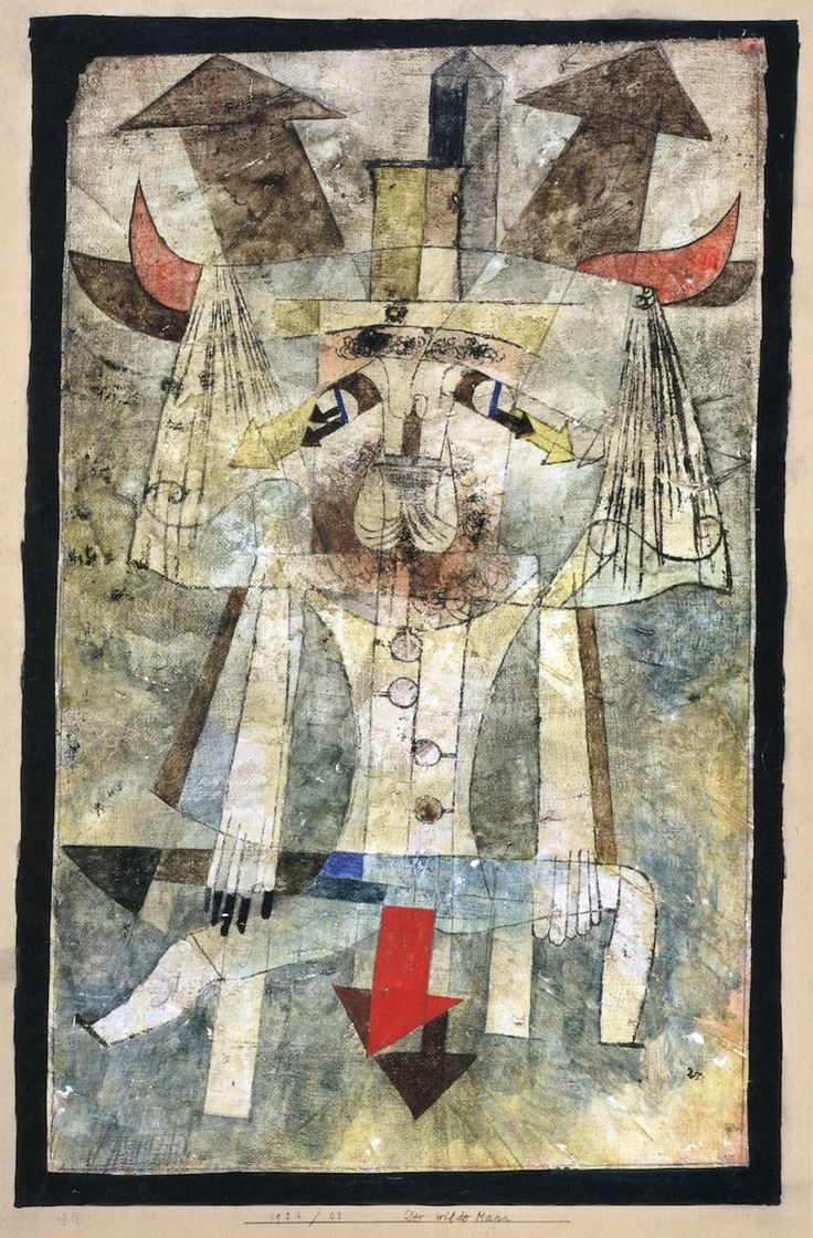 Paul Klee (1879-1940), Der wilde Mann (The Wild Man), 1922 (43). Oil tracing, watercolour and gouache on plaster-coated gauze, on paper.