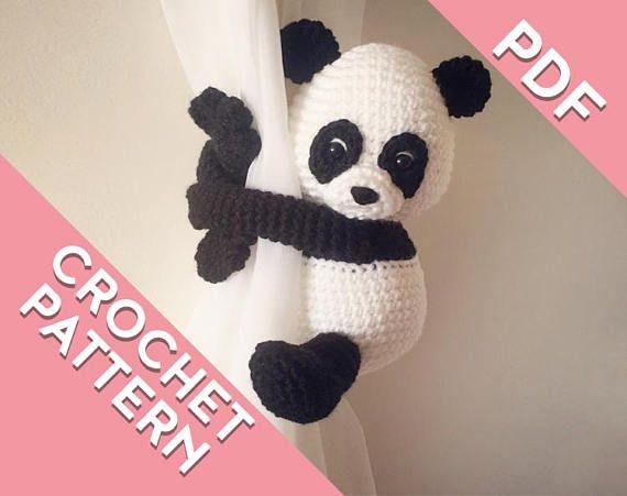 Panda curtain tie back crochet PATTERN tieback left or right