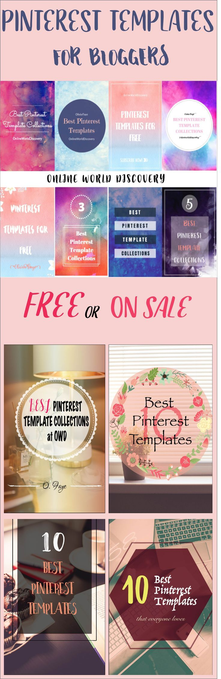 50 Premium Pinterest Templates either FREE or On BIG SALE for a limited time only! Don't miss out!