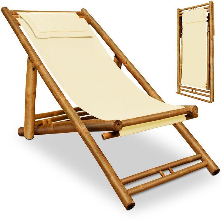 Wooden deck chair - Bamboo - pillow included - sun lounger garden beach- Beige