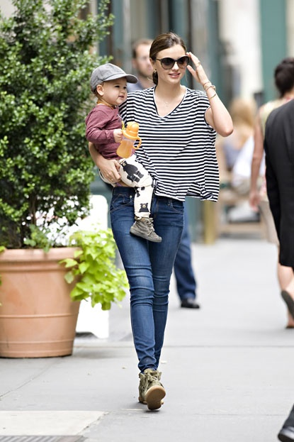 Miranda Kerr seen with her son Flynn while leaving her apartment in NYC on July 20, 2012.