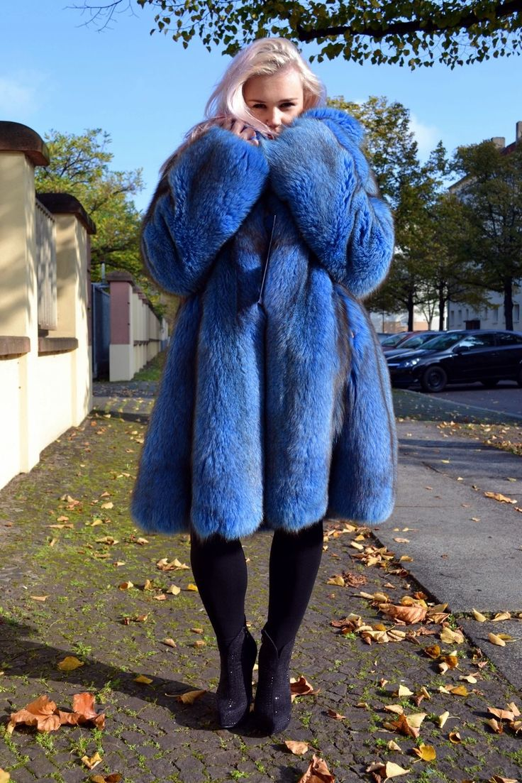 Royal Blue Fox Fur Coat Pelzmantel Fuchs Silberfuchs МЕХ