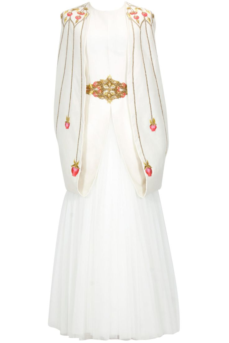 Off white thread embroidered cape sleeves gown available only at Pernia's Pop Up Shop.