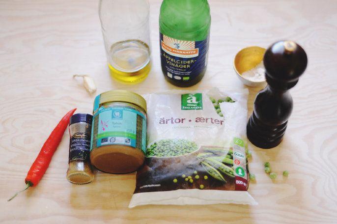 ärtpesto och marinerad broccoli