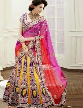 Astonishing Mustard Net Heavy Embroidery Work Designer Bridal Wear A Line Lehenga Saree