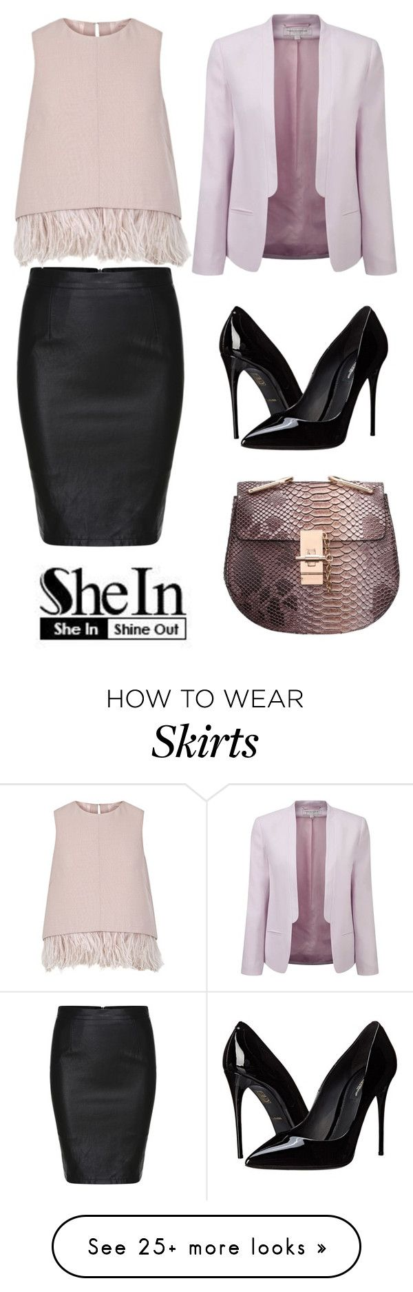 """Black Split Slim PU Skirt by Shein"" by ella178 on Polyvore featuring Mode, French Connection, The 2nd Skin Co. und Dolce&Gabbana"