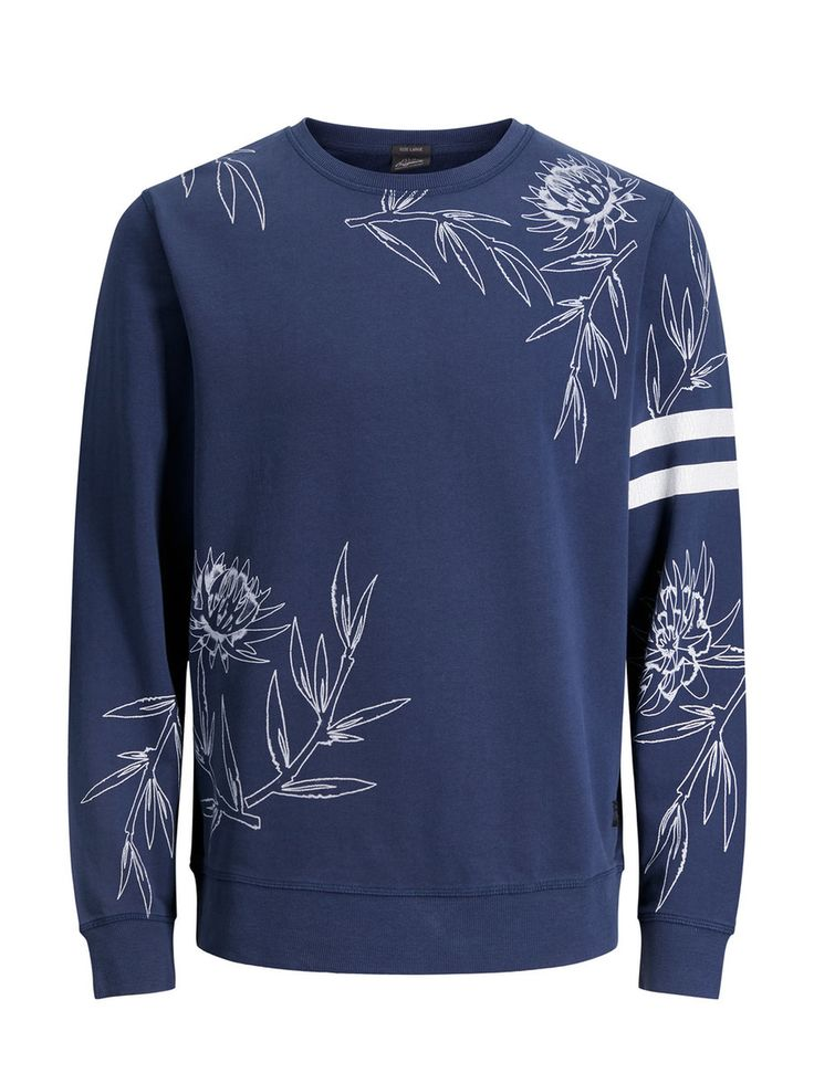Dark blue pullover with white stripes on the sleeves and floral print | JACK & JONES