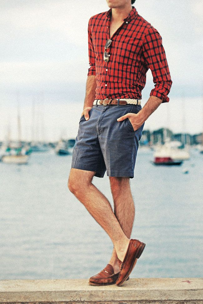 red plaid. white braided belt. blue shorts. brown kicks. simple. style.