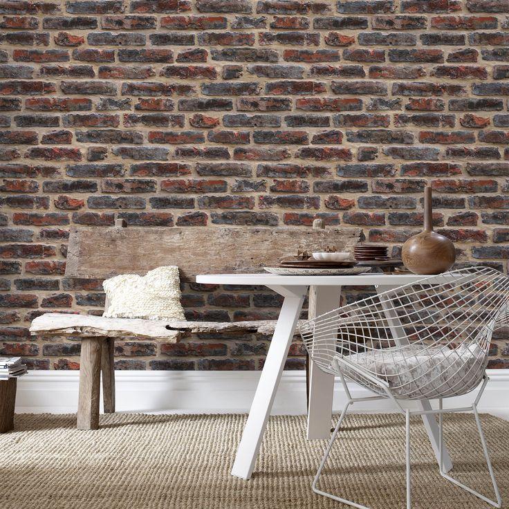 Papier peint vinyle grainé intissé effet mur de briques AEDAN Graham & Brown
