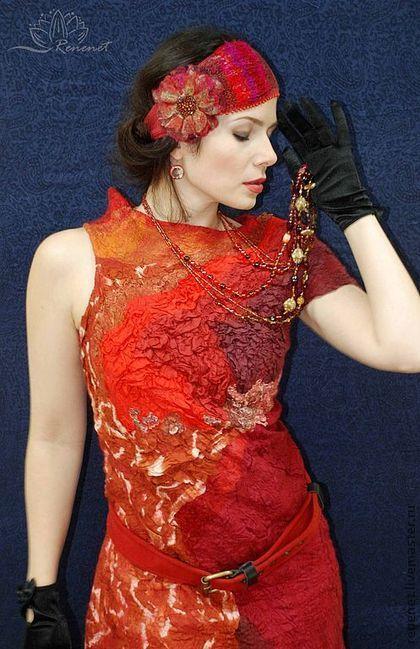"""Платья ручной работы. Ярмарка Мастеров - ручная работа Валяное платье """"Стихия Огонь"""". Handmade."""