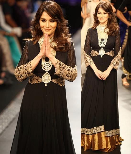 Beautiful Madhuri Dixit in a Black Anarkali, Indian Pakistani wedding dress
