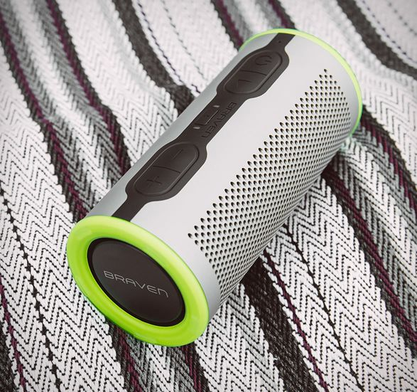 The Braven Stryde 360 is a cylindrical, waterproof boombox capable of 360 degree surround sound. It can be fully submerged in up to one meter of water for up to 30 minutes, and is capable of explosive sound through dual passive radiator and opposing