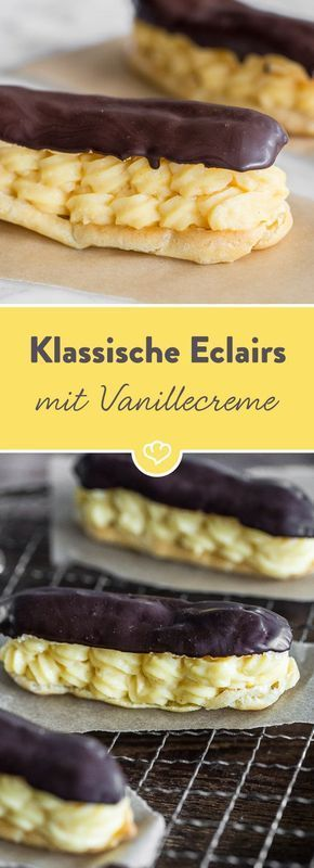 Savoir-vivre zum Niederknien: Luftiger Brandteig gefüllt mit Vanillecreme und überzogen mit Zartbitterschokolade ... Formidable!