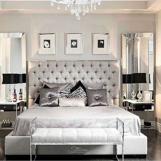 193 best images about hollywood glam vision board on 11696 | 57873615f6a08f78d207db957703d273 silver headboard master bedroom chandelier