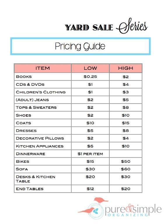 Yard Sale Pricing Guide Free Printable Pure Amp Simple Organizing Organize A Yard Sale