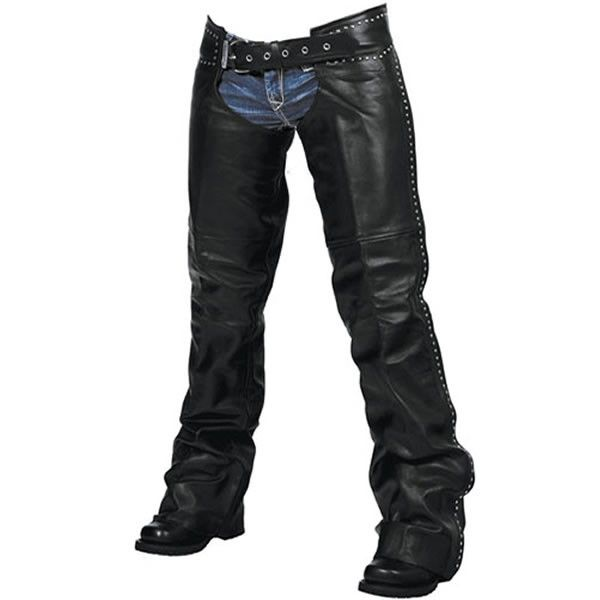 Milwaukee Della Womens Made in USA Leather Studded Motorcycle Chaps come in solid black and are made of genuine USA cowhide leather with easy on / off with outer zippers, trimmable length, and studded accents in a hip hugger belted style for women bikers and motorcycle riders.